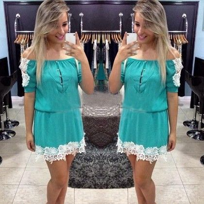 Sea Green Lace Details Short Dress - Enigma