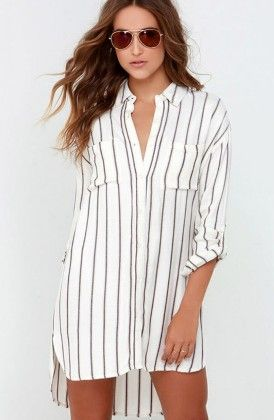 Vertical Striped Shirt Dress - Drape In Vogue