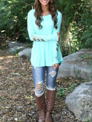 Sky Blue Long Sleeve Dip Hem Sequined T-shirt - She In