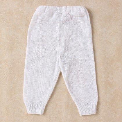 White Woollen Leggings - Knitting Nani