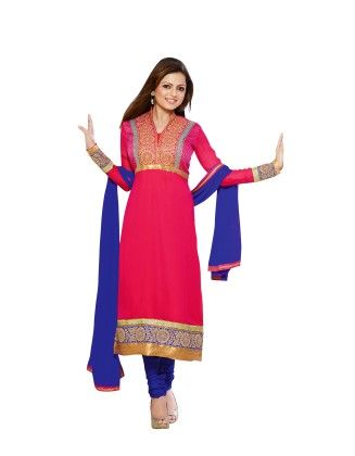 Touch Trends Pink Pure Georgette ,chiffon Dress Material-1 - Touch Trends Ethnic