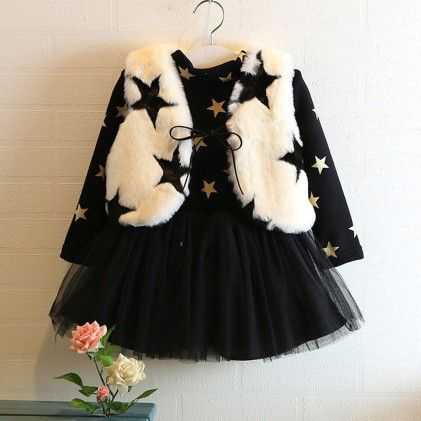 Black & White Stars Winter Party Frock - Lil Mantra
