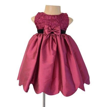Plum Scallop Party Dress  - Plum - Faye
