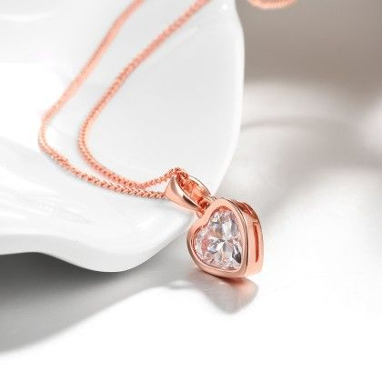 Rose Gold Plated Pure White Heartnecklace With Swarovski Elements - Rubique Jewelry