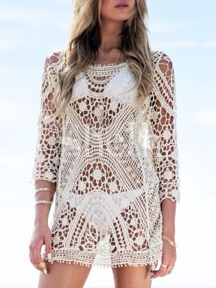 Apricot Long Sleeve Style Crochet Lace Blouse - She In
