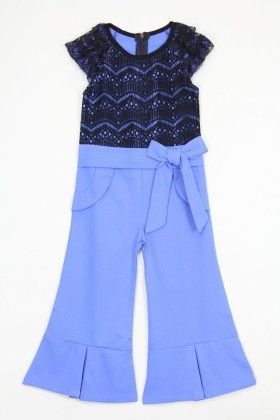 Black And Royal Blue Lace Bow Jumpsuit - Tutu And Lulu