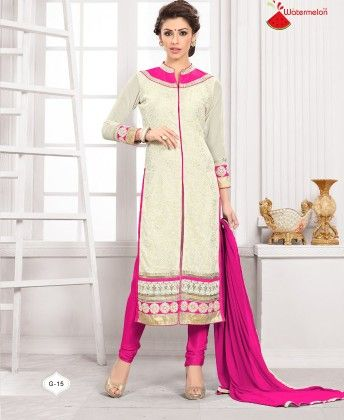 White And Pink Georgette Churidar Semi Stitched Suit - Fashion Fiesta