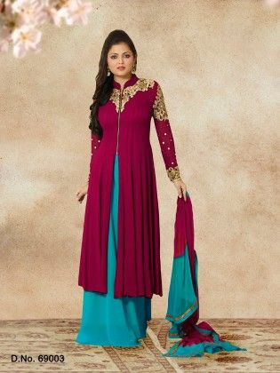 Touch Trends Purple Georgette Dress Material - Touch Trends Ethnic