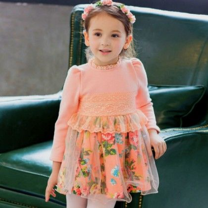 Full Sleeve Party Wear Dress - Petite Kids
