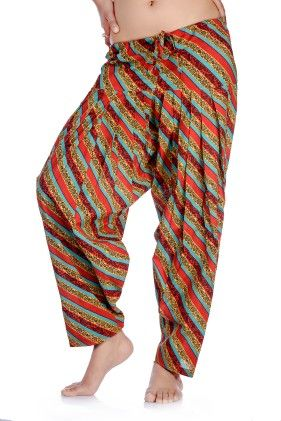 In-sattva Women's Indian Colorful Diagonal Stripes Print Patiala Pants- Red - In Sattva