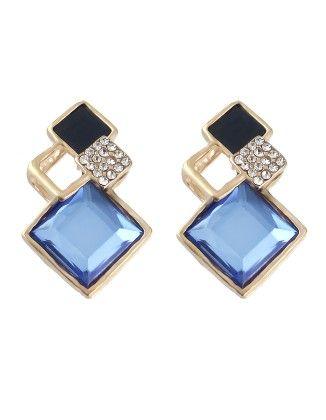Geometric Shape Women Blue Stone Earrings - She In