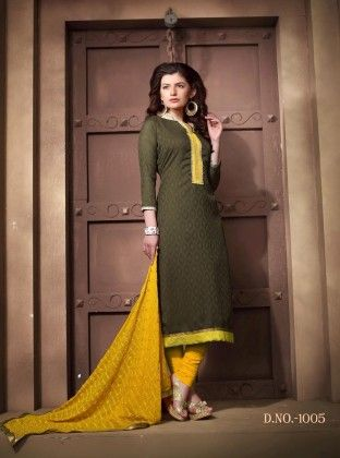 Mhendi And Yellow Cotton Dress Material - Fashion Fiesta