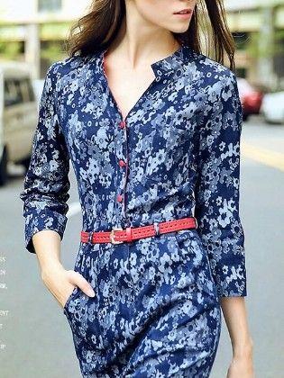 Blue Shirt Dress - Drape In Vogue