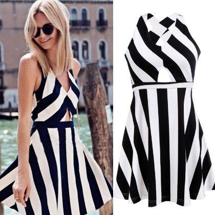 Black & White Stripe Dress - Enigma