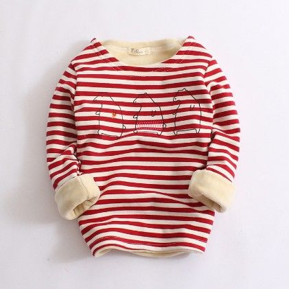 Striped Warm Fleece Sweatshirt-red - Prince-Town