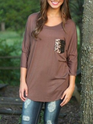 Camel Round Neck Sequined Pocket T-shirt - She In