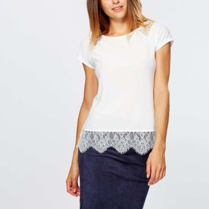T-shirt With Fine Lace On The Shoulders And Hem - Kiabi