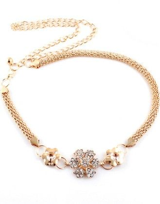 Gold Diamond Flower Chain Belt - She In