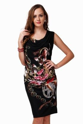 Dressvilla Black Printed Short Dress