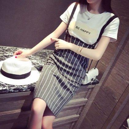 Shoulder Striped Dress - Drape In Vogue