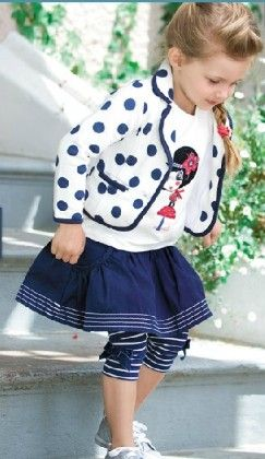 Girls 2 Pcs Set - Printed T-shirt With Attached Jacket And Culotte - Popsicle Kisses