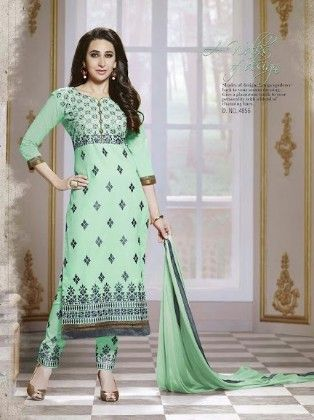 Sea Green Cotton With Embriodery Dress Material - Fashion Fiesta