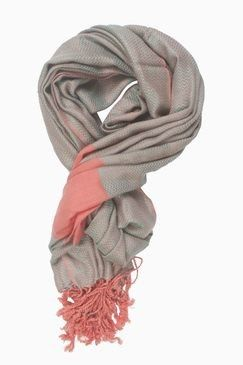 In-sattva Colors – Two-tone Horizontal Stripes Scarf Stole Peach - In Sattva