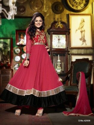 Touch Trends Red Raw Silk With Faux Georgette Dress Material - Touch Trends Ethnic