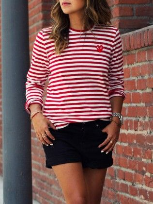 Red White Long Sleeve Striped T-shirt - She In