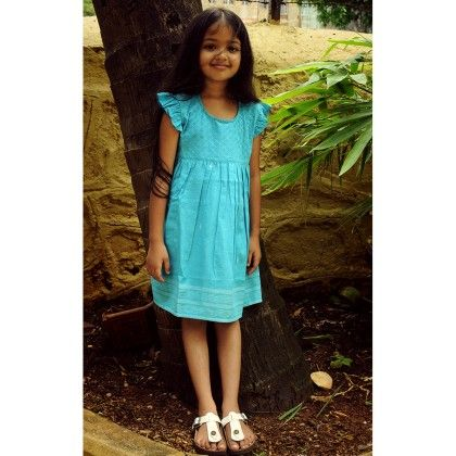 Girls Gamcha Frock Quilted Yoke With Frill Sleeves Turq - Indigene