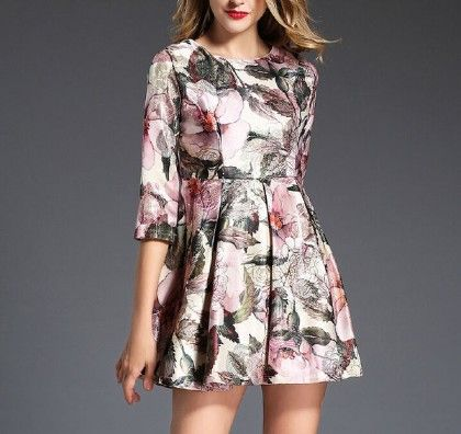Sateen Rich Flower Dress - Drape In Vogue