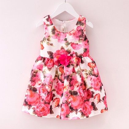 Pink Printed Winter Party Frock - Lil Mantra
