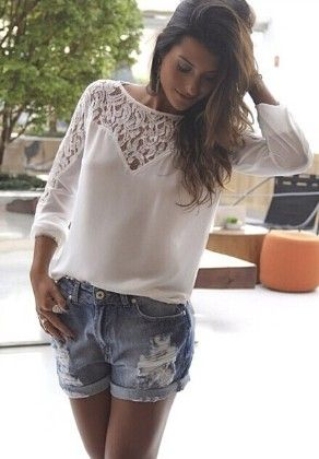 White Long Sleeve Lace Hollow Blouse - She In