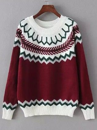 Red White Round Neck Geometric Print Sweater - She In