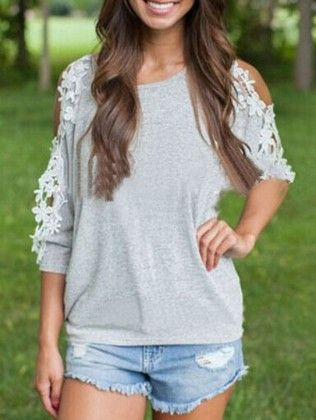 Contrast Lace Open Shoulder Grey T-shirt - She In