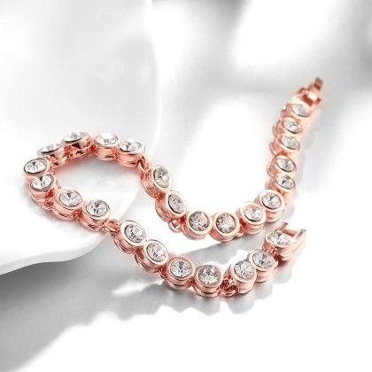 Around The World Rose Gold Plated Bracelet With Swarovski Elements - Rubique Jewelry