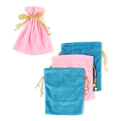Give Away Velvet Sagun Pouches - Pack Of 4 - Baby Blue & Pink - Velvetise