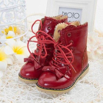 Red Bow Lace Up Boots - Oh Pair
