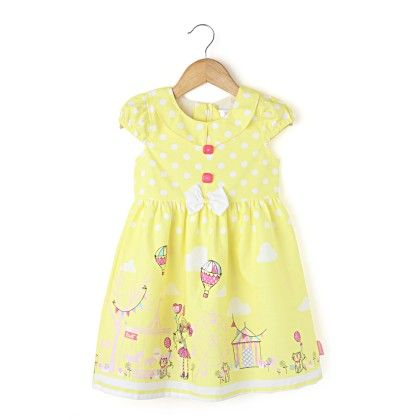 Cap Sleeve Collar Dress With Border  Print - Lemon - Chocopie
