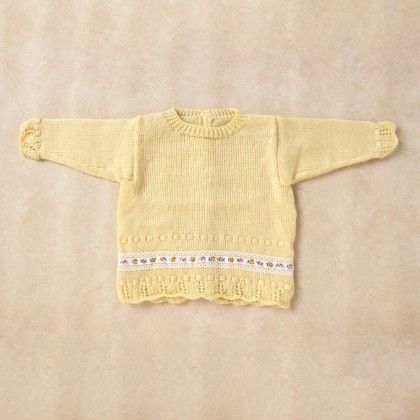 Light Yellow Full Sleeve Baby Coat With Lace Border - Knitting Nani