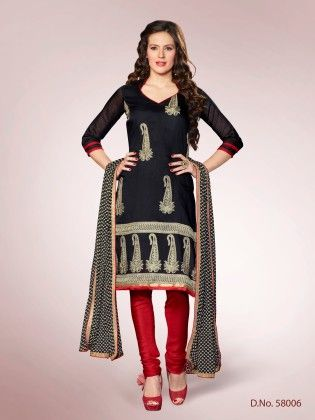 Touch Trends Black Chanderi Dress Material - Touch Trends Ethnic