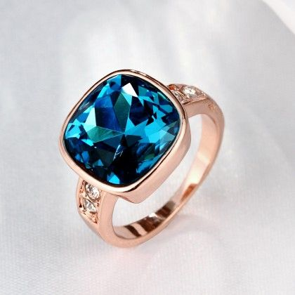 Rose Gold Plated Aqua Blue Stone Ring - Rubique Jewelry