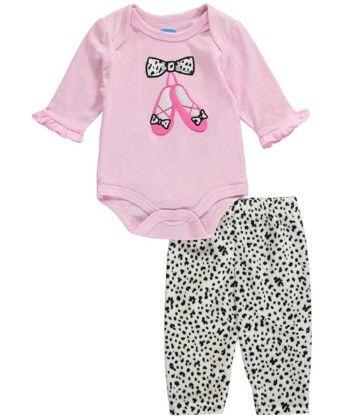 Pink Shoes Bodysuit & Super Soft Velour Pant Set - Bon Bebe