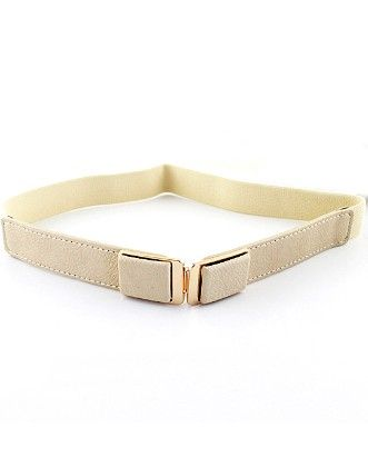 White Elastic Metal Buckle Belt - She In