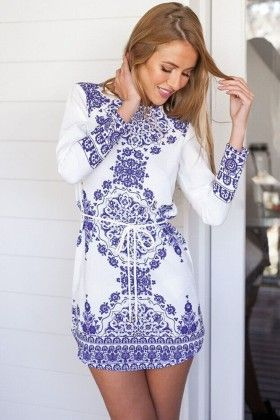 White And Blue Printed Dress - Enigma