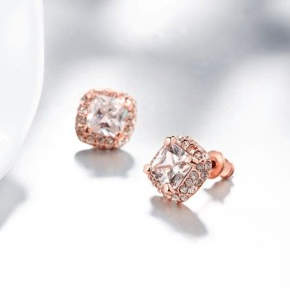 White Topaz Diamond Simulated Studs Rose Gold Plated Made With Swarovski Elements - Rubique Jewelry