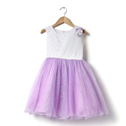 Party Frock With Stole - White & Purple - Party Princess