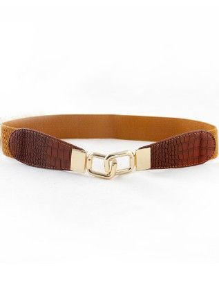 Yellow Snakeskin Metal Buckle Belt - She In