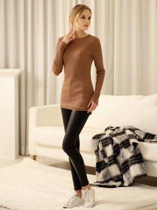 Coffee Round Neck Long Sleeve Slim T-shirt - She In