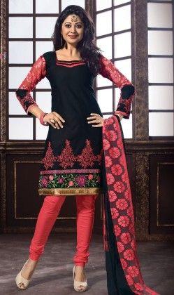 Salwar Suit - Daily Wear - Black And Pink Color - Naari Aavran